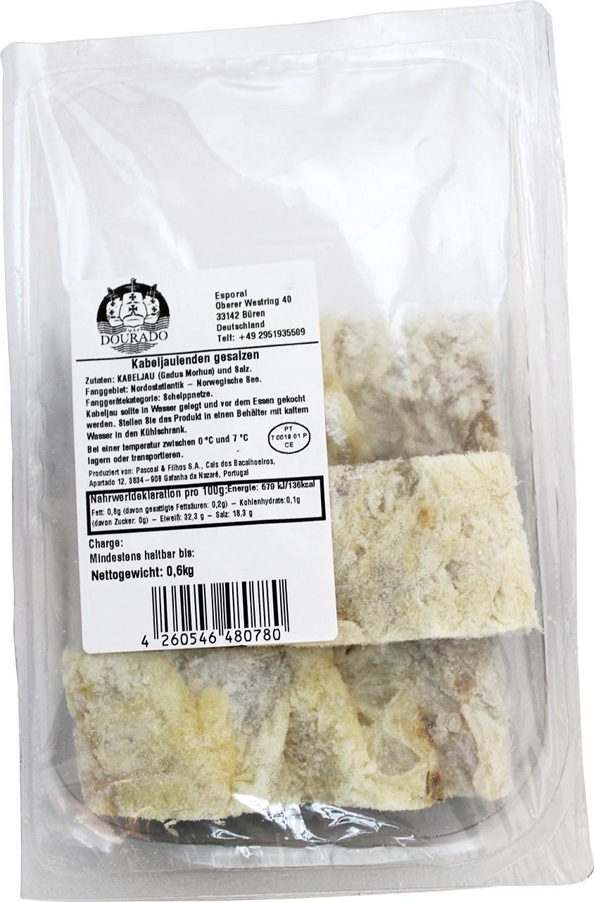 Getrocknete Kabeljaulenden (3er Pack) - Lombos de Bacalhau salgado 600 gr. - Mar Dourado - Portugal
