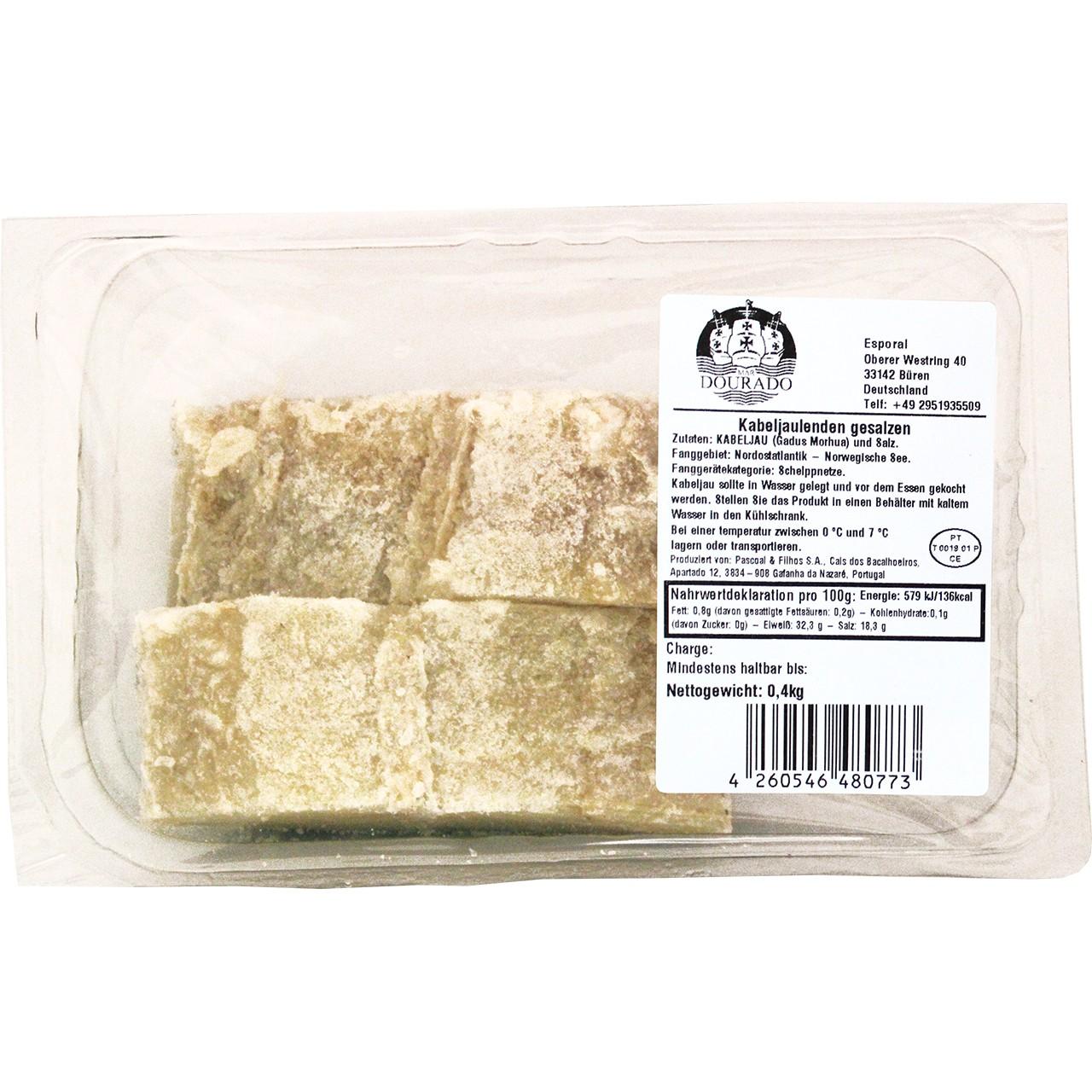Getrocknete Kabeljaulenden (2er Pack) - Lombos de Bacalhau salgado 400 gr. - Mar Dourado - Portugal