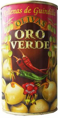 Oliven mit Pepperonipaste gefüllt - Aceitunas rellenas de Guindilla - Oro Verde - Spanien