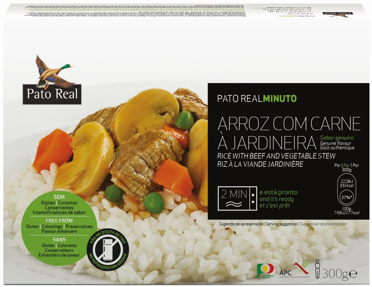 Reisgericht mit Rindfleisch - Arroz com Carne à Jardineira 300gr. - Pato Real - Portugal