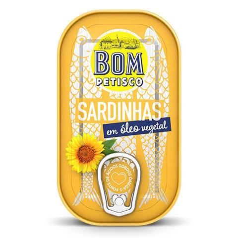 Sardinen in Sonnenblumenöl - Sardinhas em oleo vegetal 120gr. - Bom Petisco - Portugal