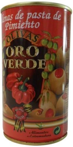 Oliven mit Paprikapaste gefüllt - Aceitunas rellenas de Pimiento - Oro Verde - Spanien