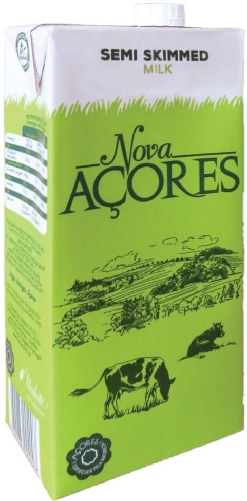 Leite Meio Gordo Nova Açores 1 Liter - Fettarme Milch