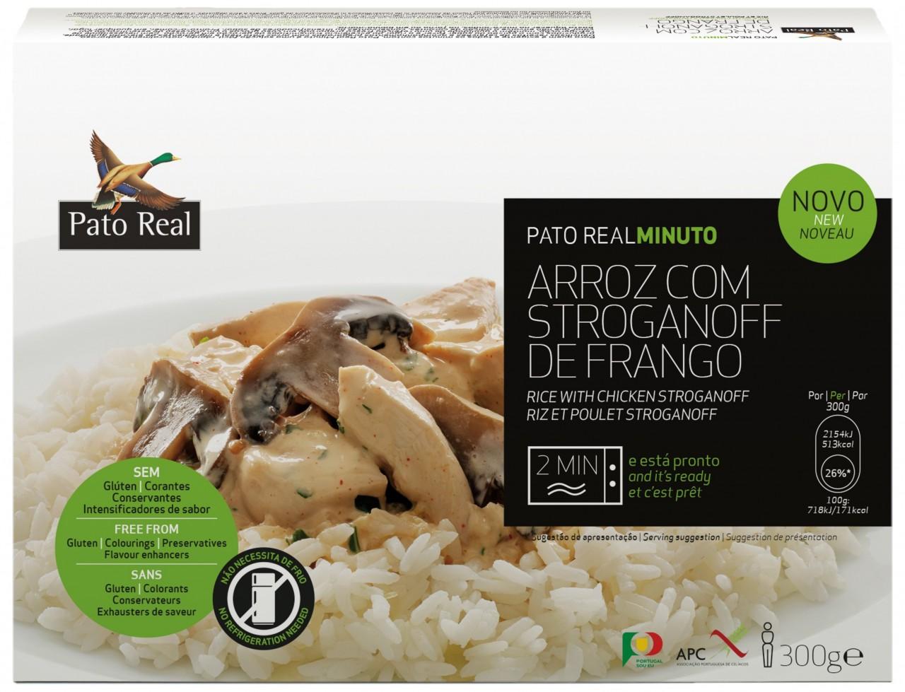 Reisgericht mit Hähnchen und Champignons in Sahnesoße - Arroz com Stroganoff de Frango 300gr. - Pato