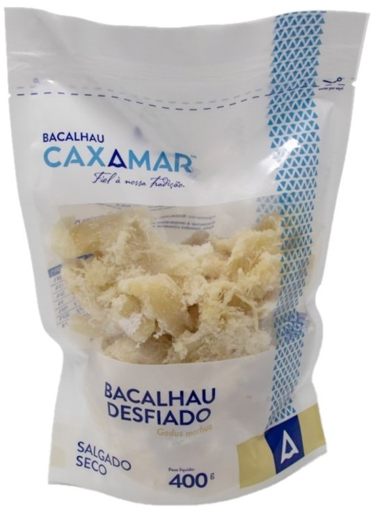 Getrocknete Kabeljaustücke gesalzen - Bacalhau desfiado Caxamar 400gr.