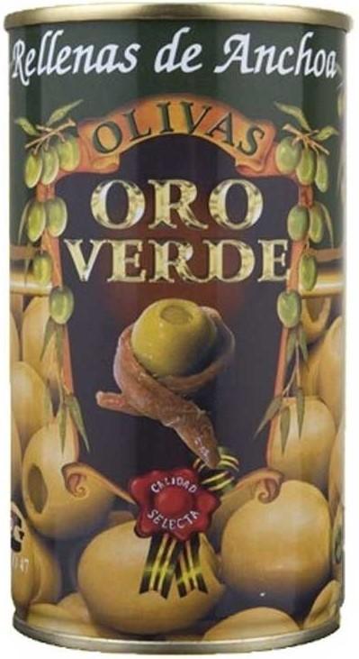Oliven mit Sardellenpaste gefüllt - Aceitunas rellenas de Anchoa - Oro Verde - Spanien
